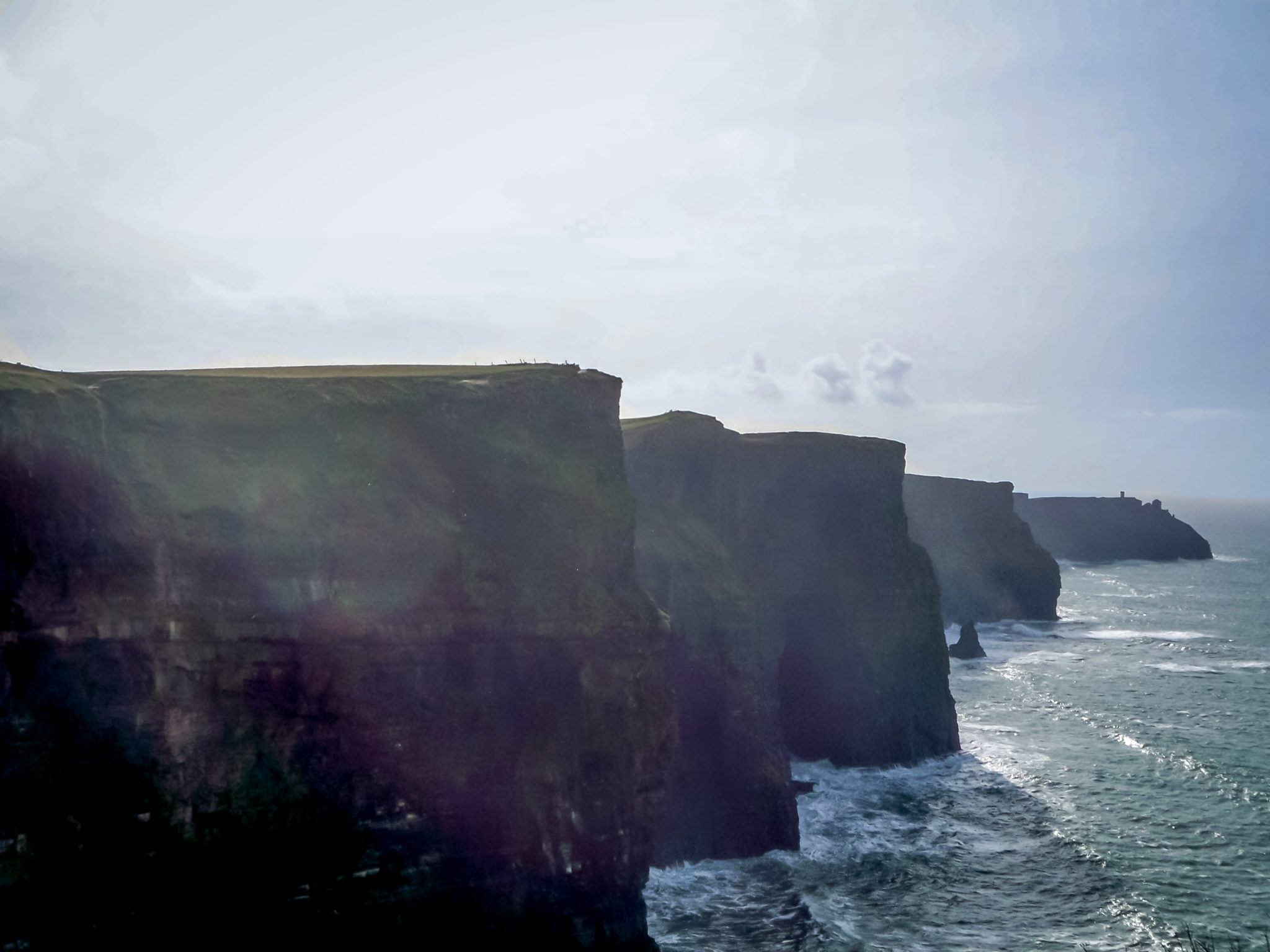The cliffs drop straight into the ocean