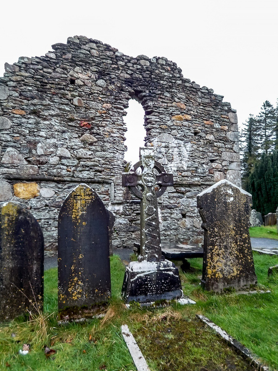 Ruins and cemetery at Glendalough monastery in Ireland