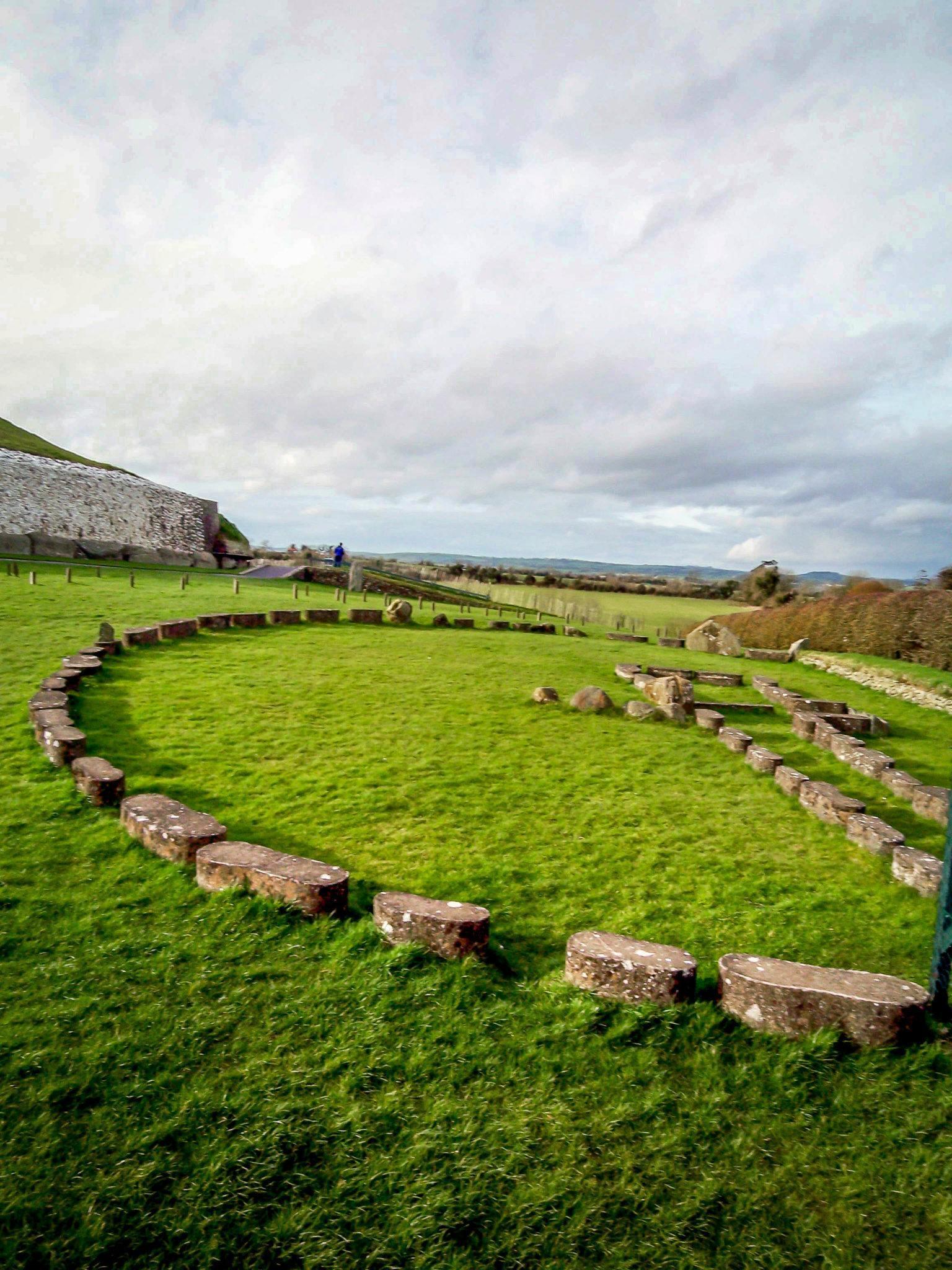 Stone outline on hillside near Newgrange passage tomb