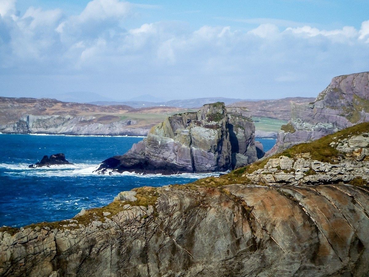 Rocky outcroppings along the craggy Irish coastline at Mizen Head