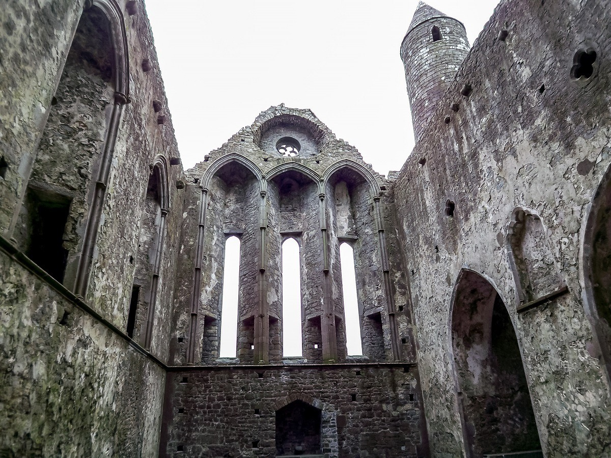 Inside the cathedral ruins at Ireland's Rock of Cashel