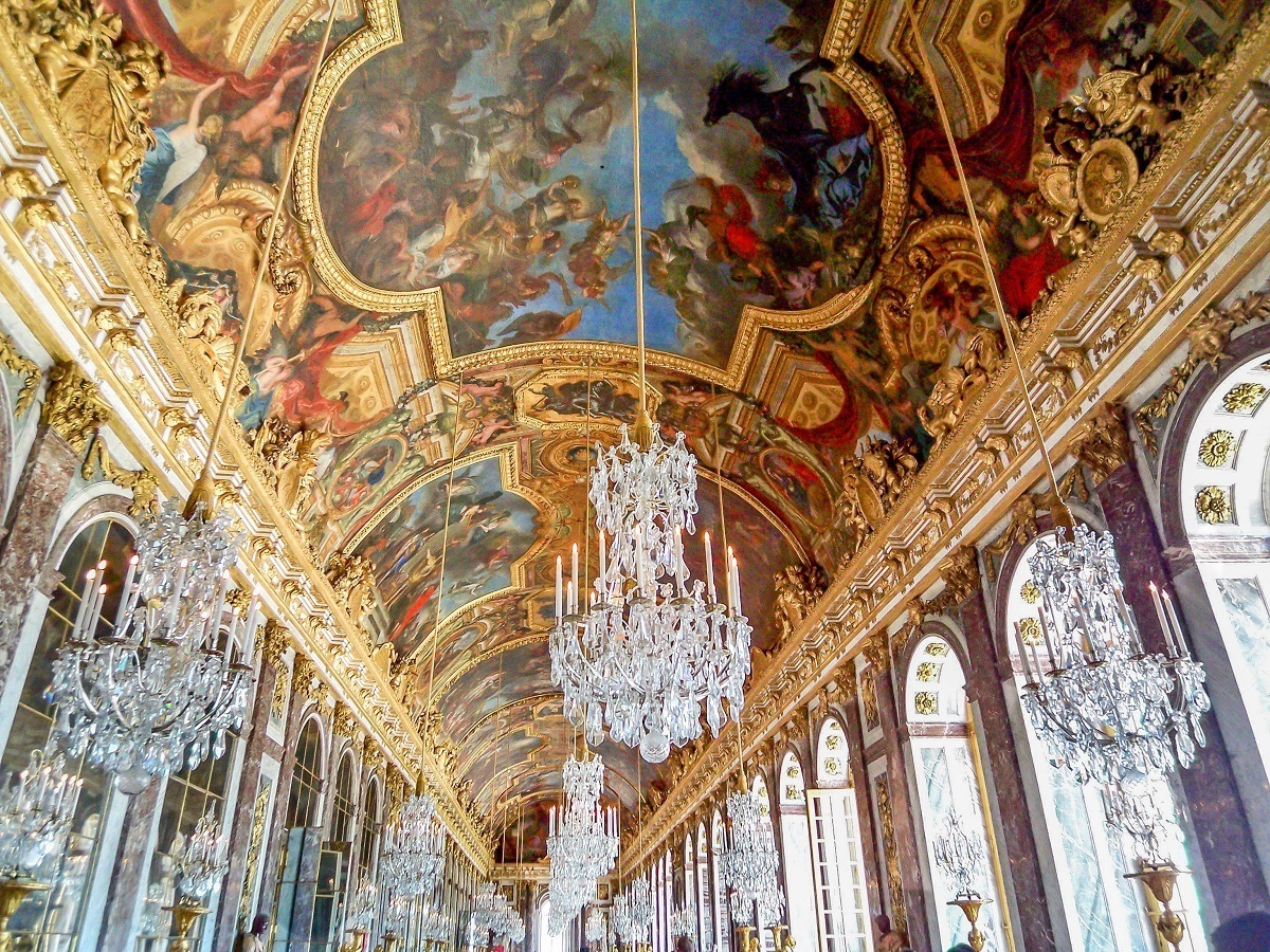 The ceiling in the Hall of Mirrors at Versailles