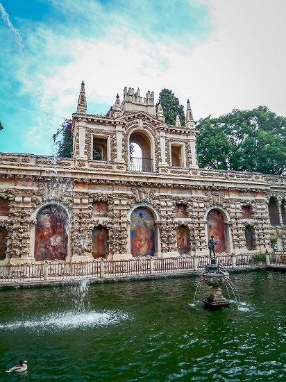 The beautiful gardens inside the Seville Alcazar.