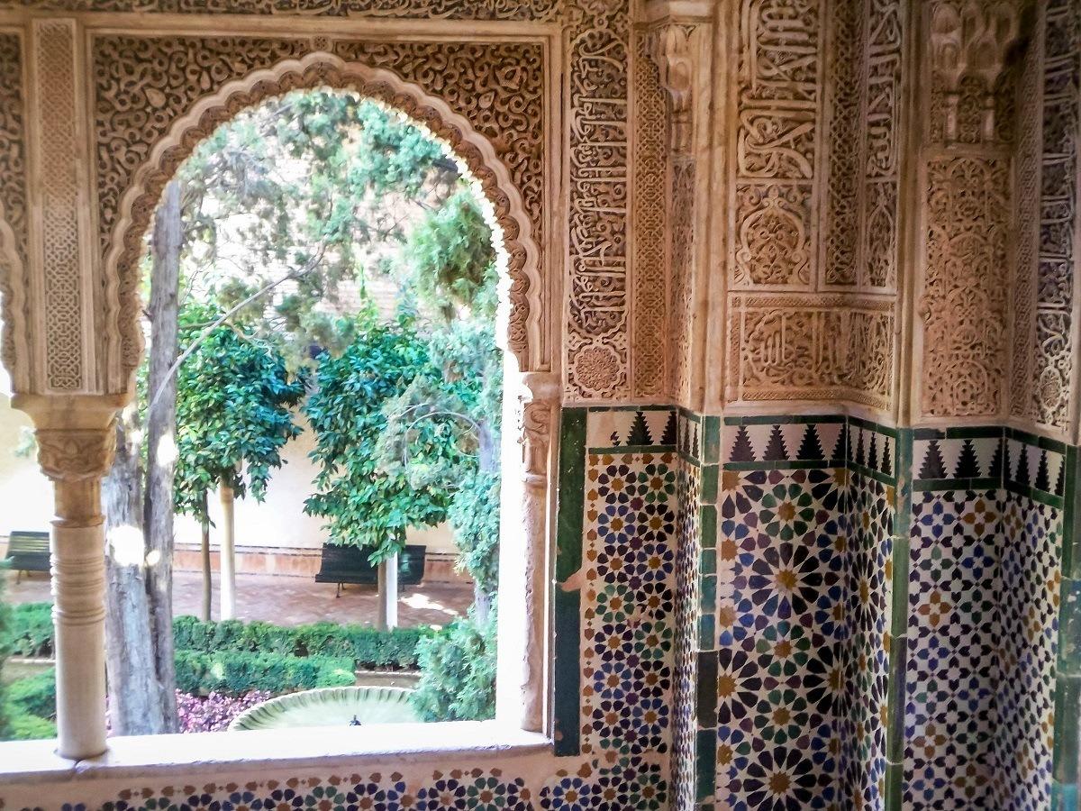 Window and Moorish tilework in Spain
