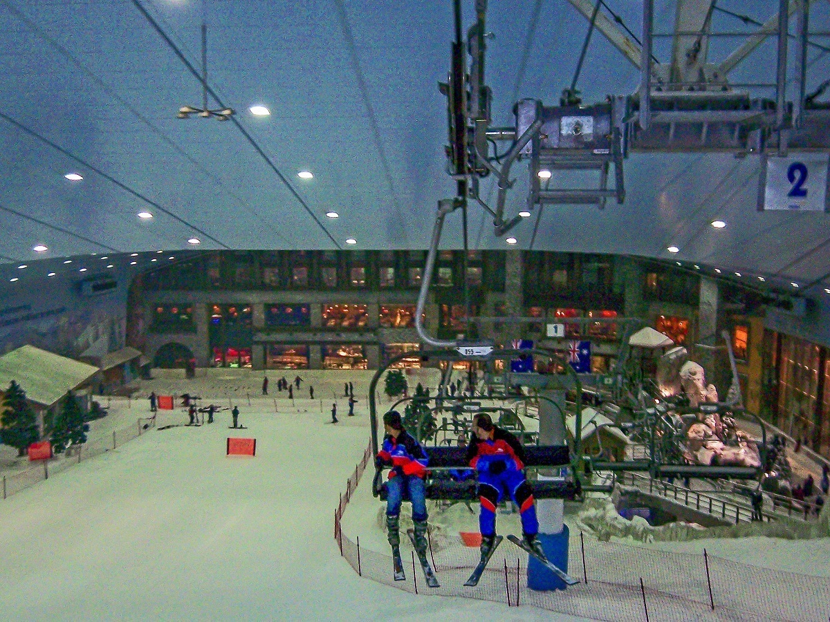 The view from the chairlift on the way to the top of Ski Dubai