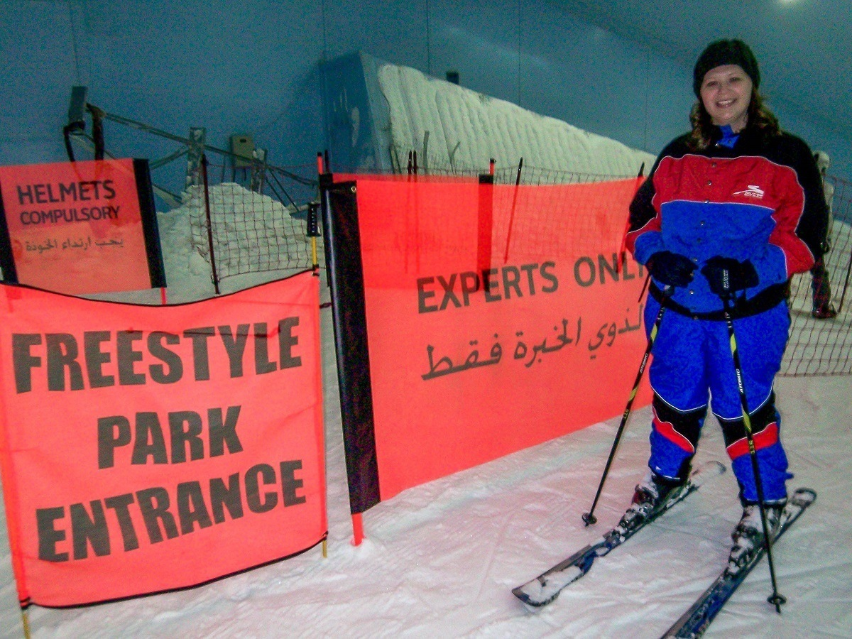 Laura at the top of the slopes of Ski Dubai in the Mall of the Emirates
