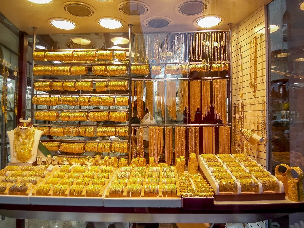 The gold filled windows of the Dubai gold souk