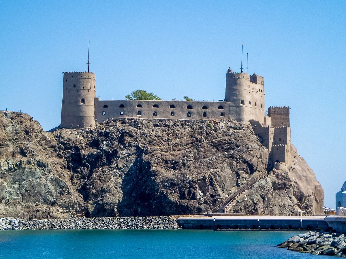 The ancient Al Jalali Fort at the harbor in Muscat