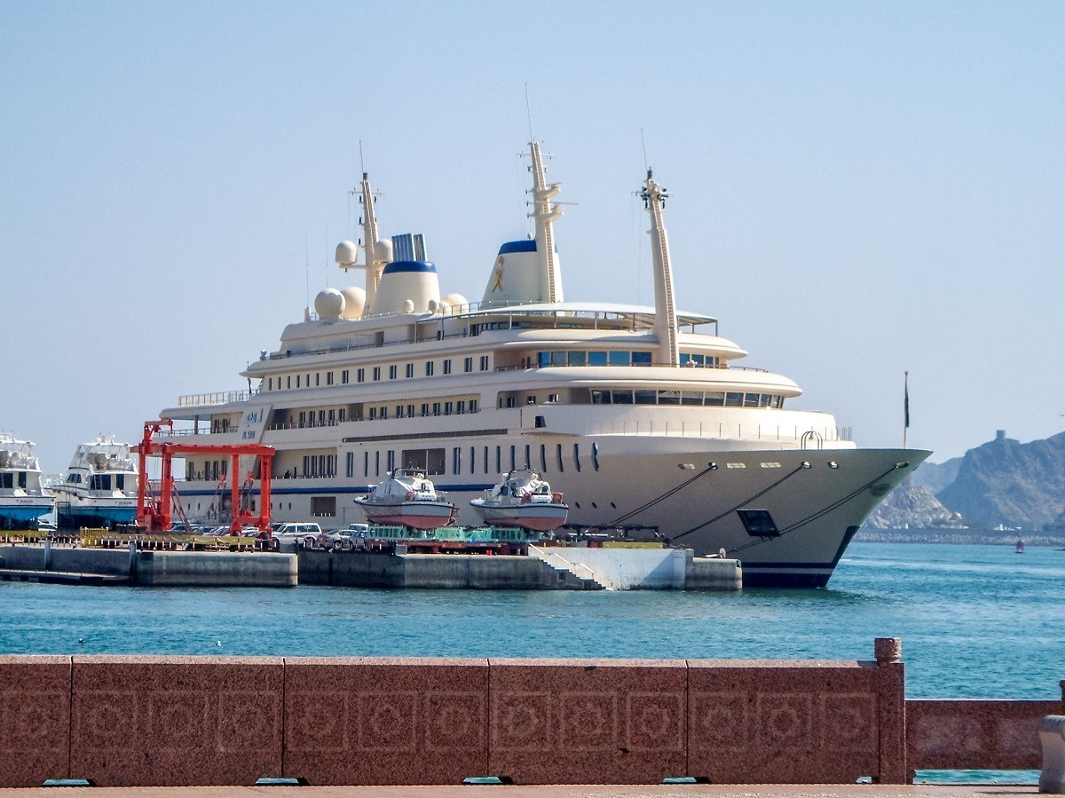 A mega-yacht in the Muttrah Harbor of Muscat