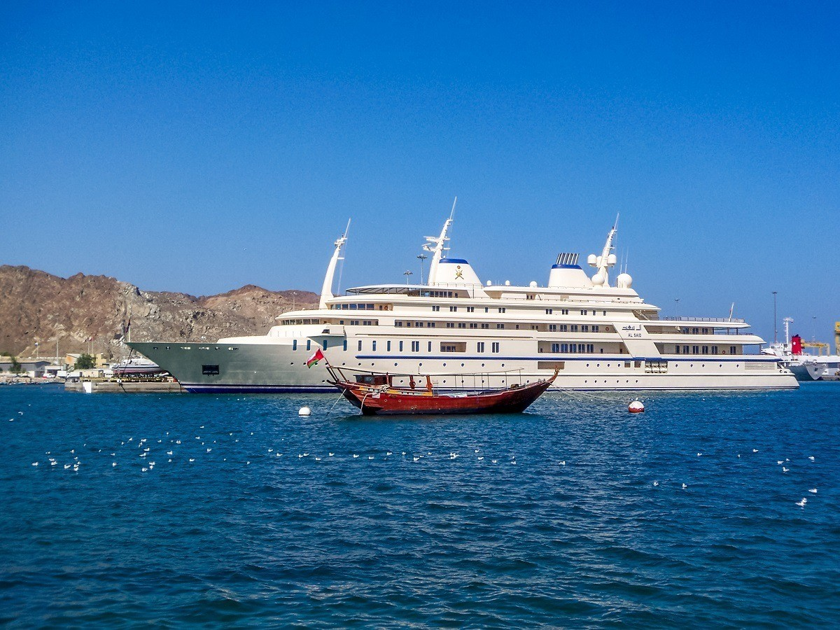 The Sultan's yacht, as viewed from the Muttrah Corniche in Muscat Harbor