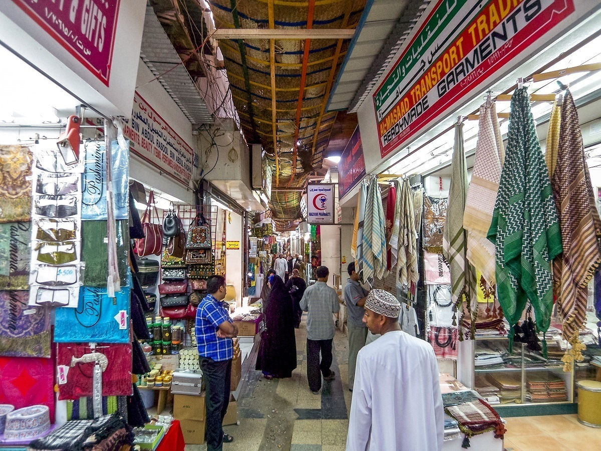 Stalls inside the Muttrah Souq in Oman