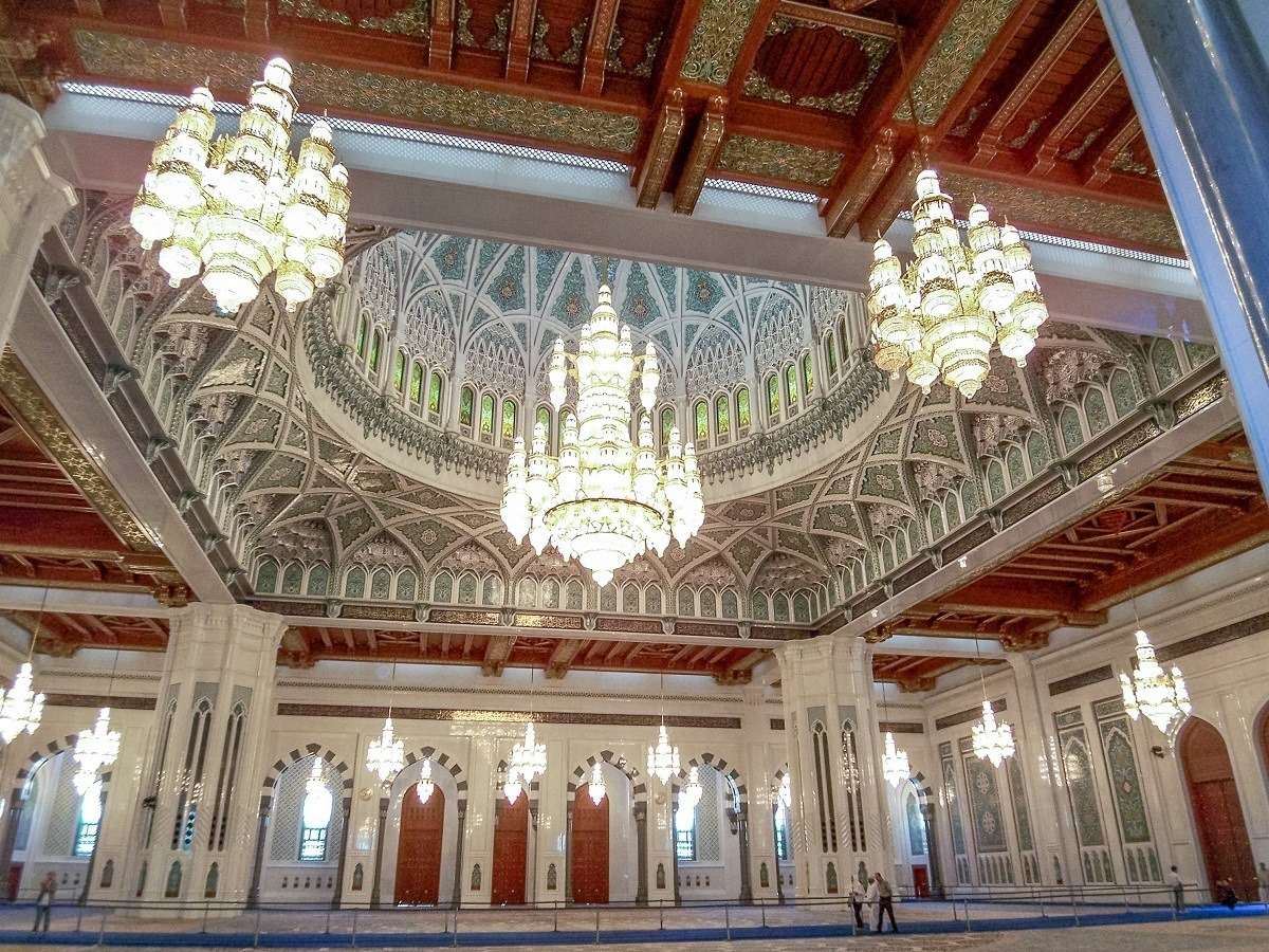Inside the Sultan Qaboos Grand Mosque in Muscat