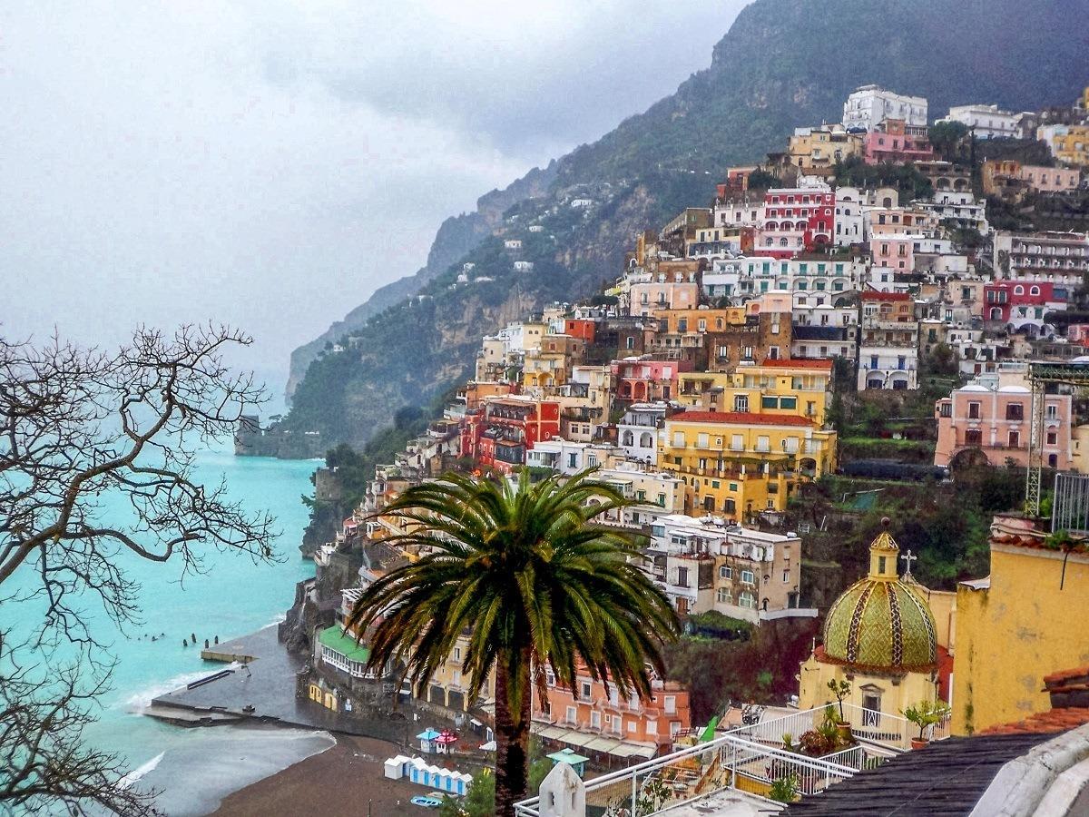 Town of Positano on the Amalfi Coast in the rain