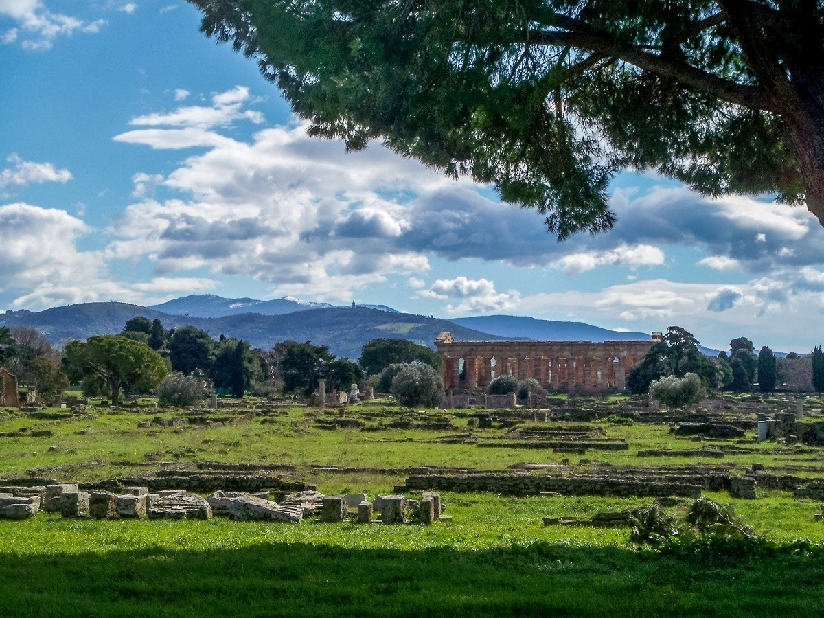 The Temple of Hera in Paestum, located in the countryside of Campania