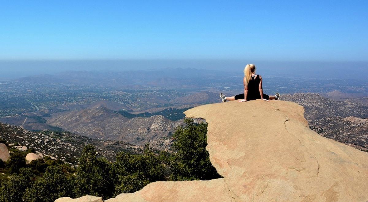 Woman on Potato Chip Rock on Mt. Woodson