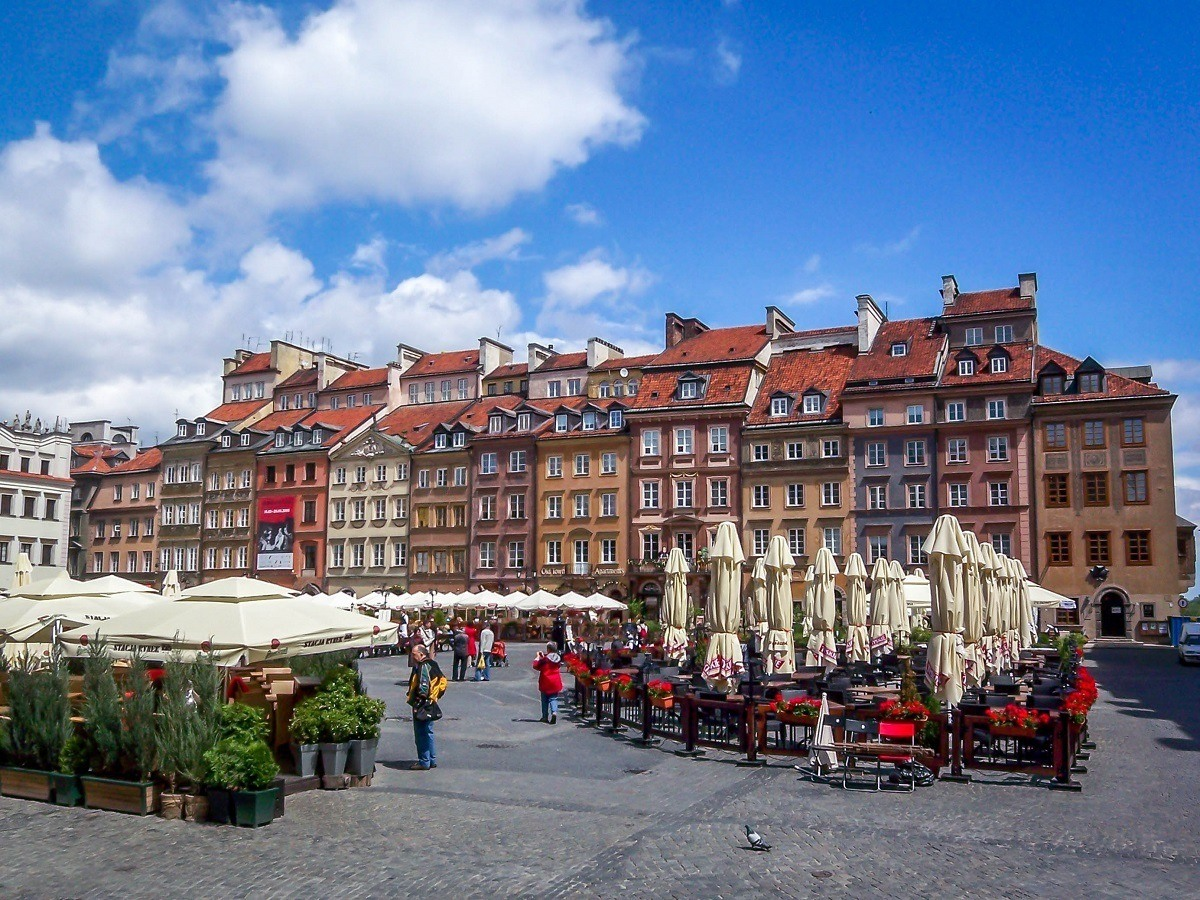 The buildings and cafes of the Warsaw Old Town, a UNESCO World Heritage Site