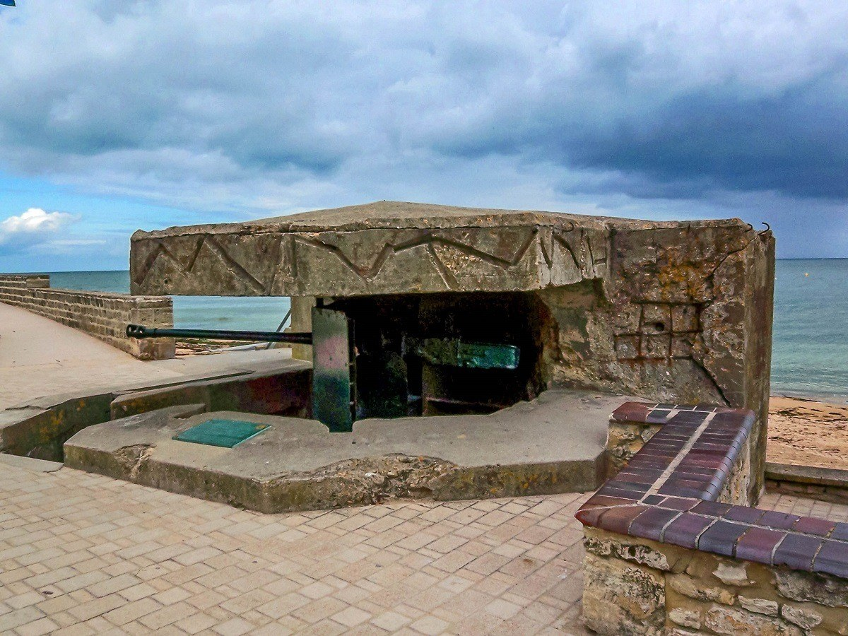 A gun placement along the French coast above one of the beaches of Normandy