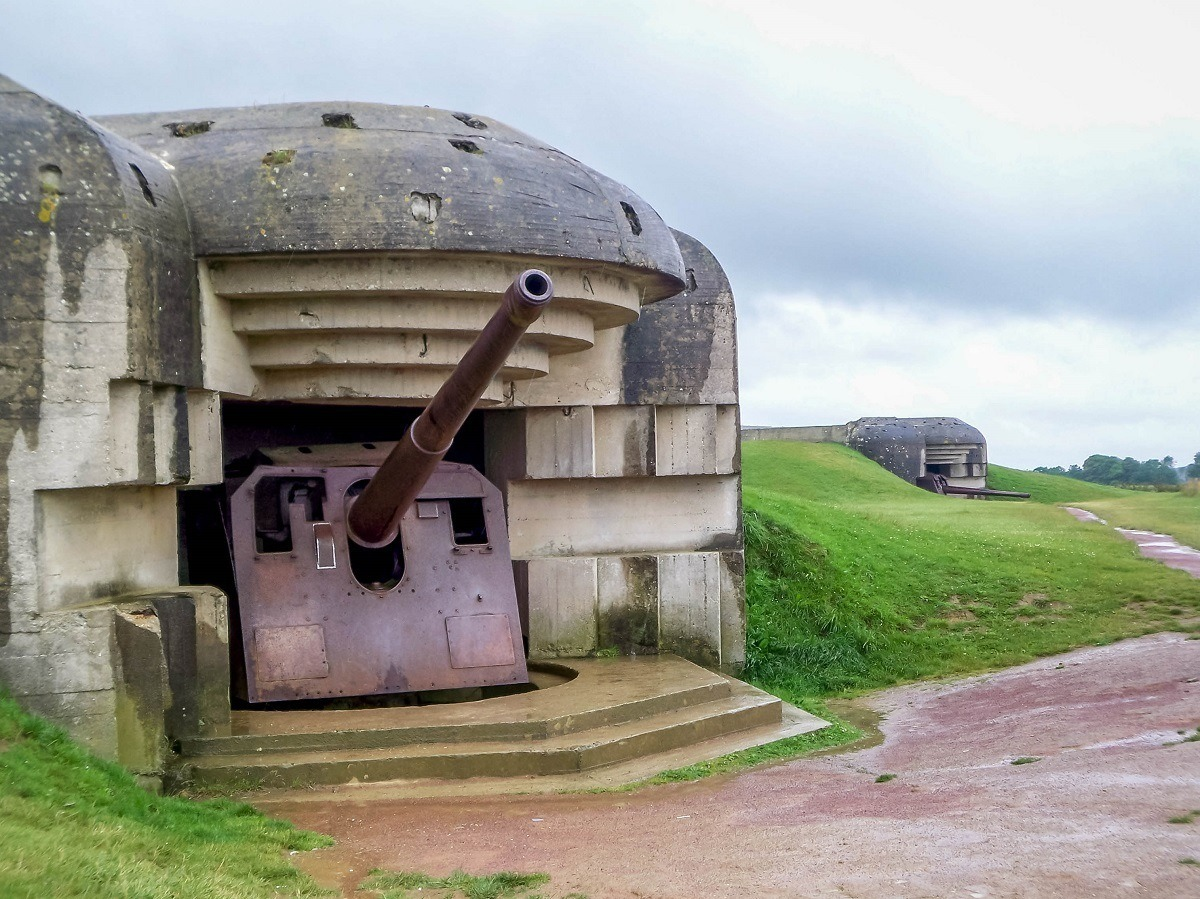 The German guns at the Longues sur Mer battery above the D Day beaches in Normandy