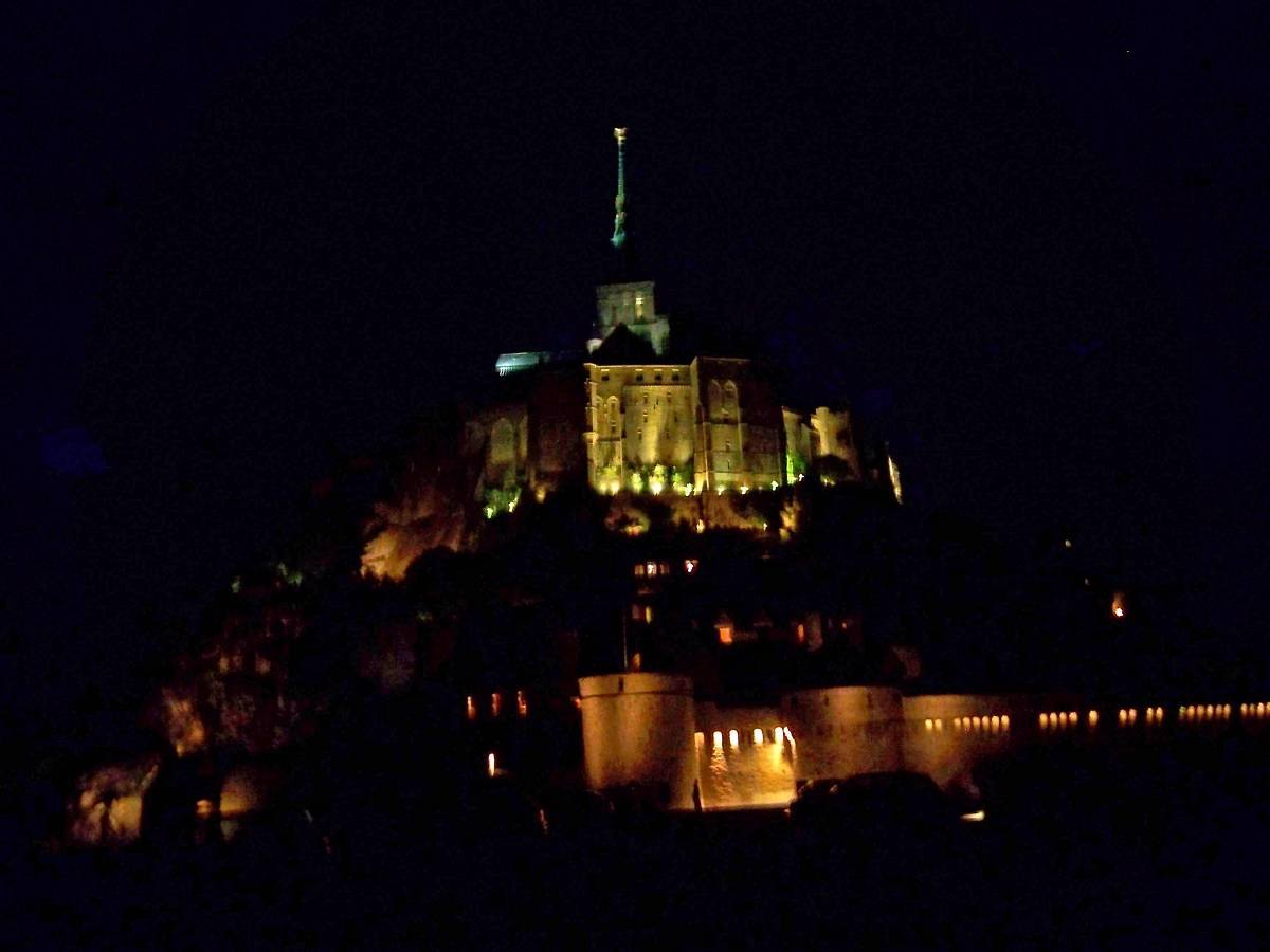 View of the island and abbey at night