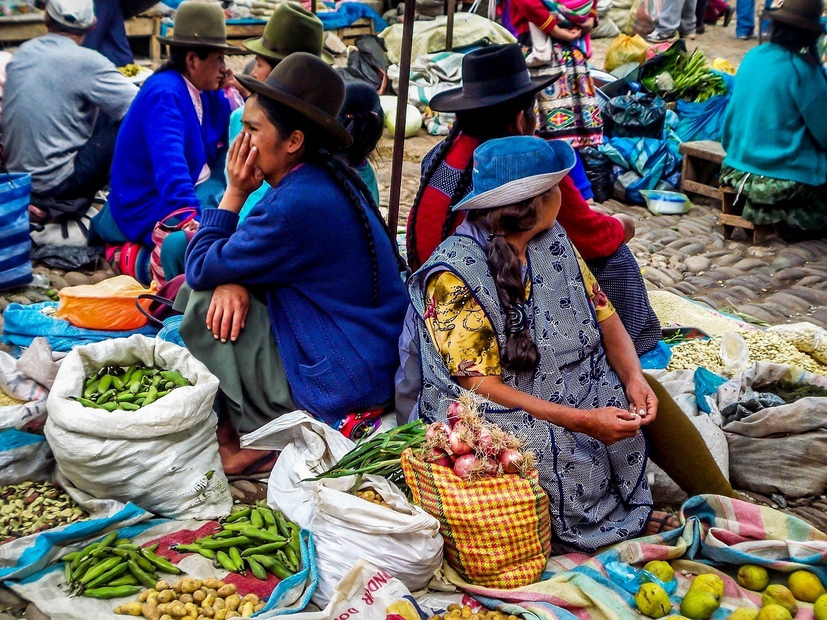 Women selling vegetables at a market
