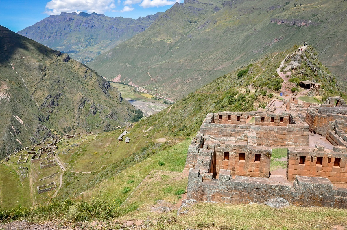 The stone Pisac ruins in the mountains