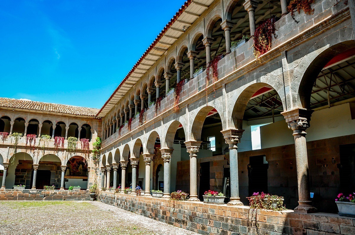 The interior courtyard of the convent of Santo Domingo in Cusco