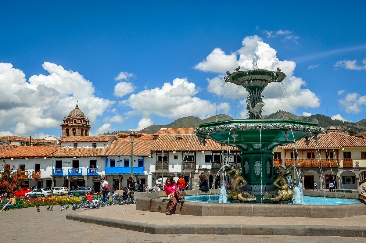 The fountain in the Plaza de Armas