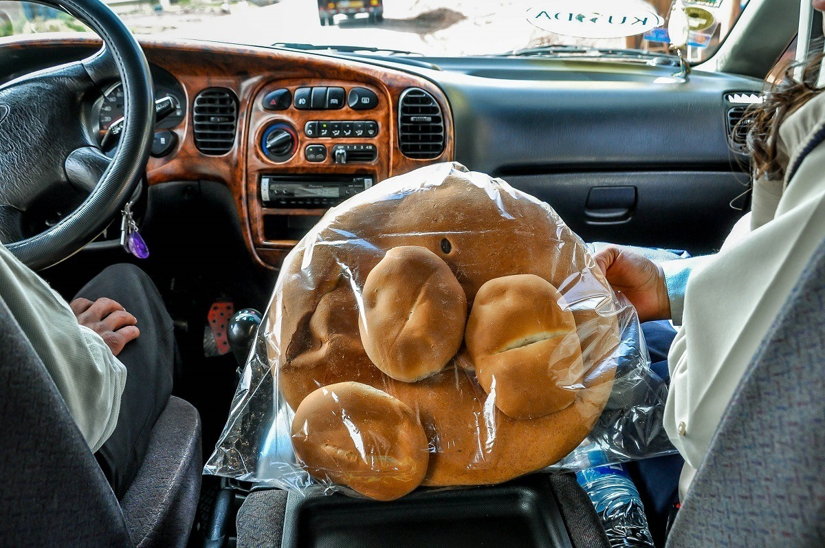 """Big bag of bread from the appropriately named """"bread town"""" near Cusco"""