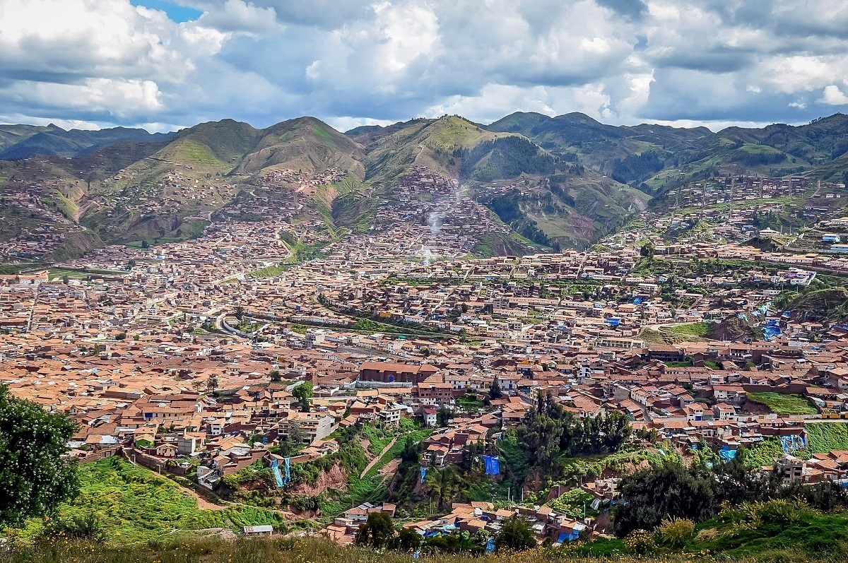 View of Cusco, Pure, the Capital of the Incas, from the mountains above