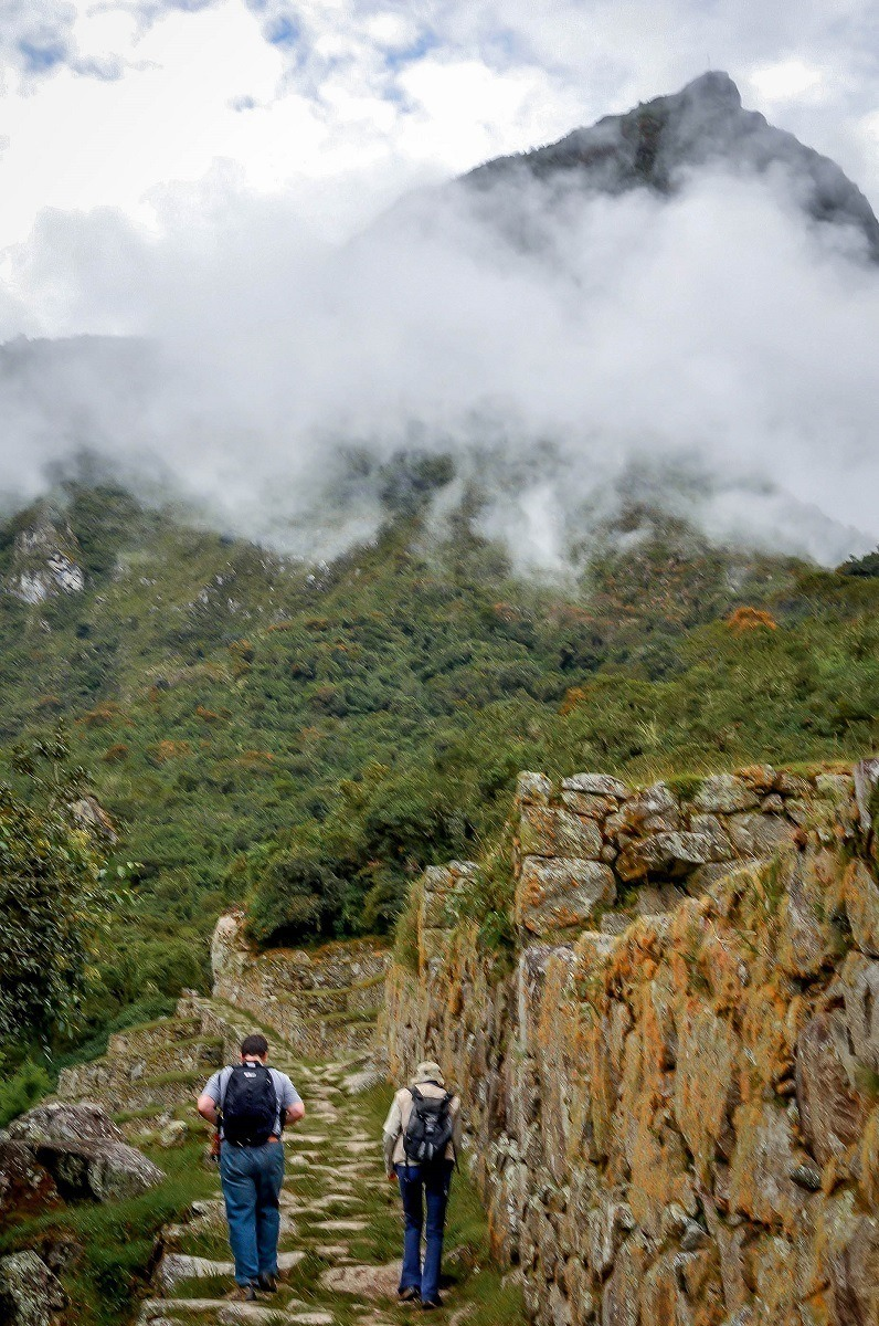 Two hikers heading up the Inca Trail