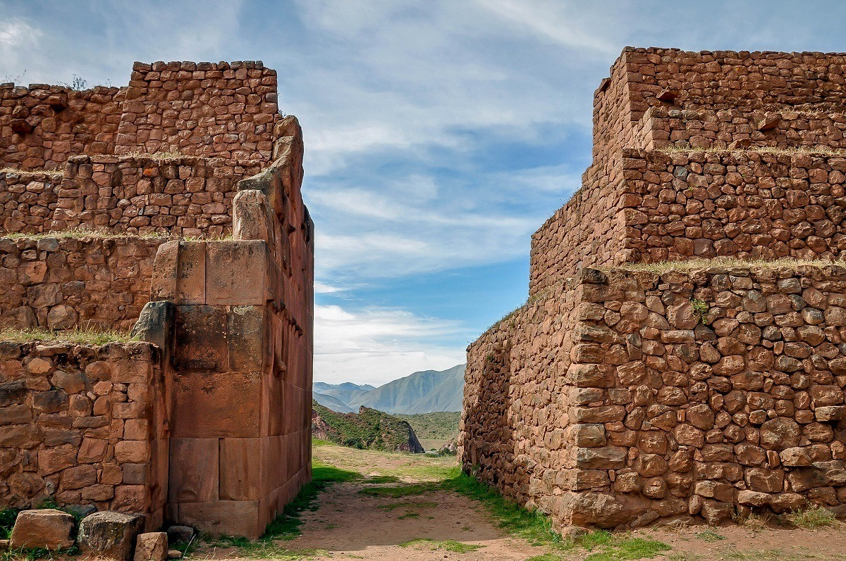 Stone walls at the Archaeological Park of Pikillaqta in Peru
