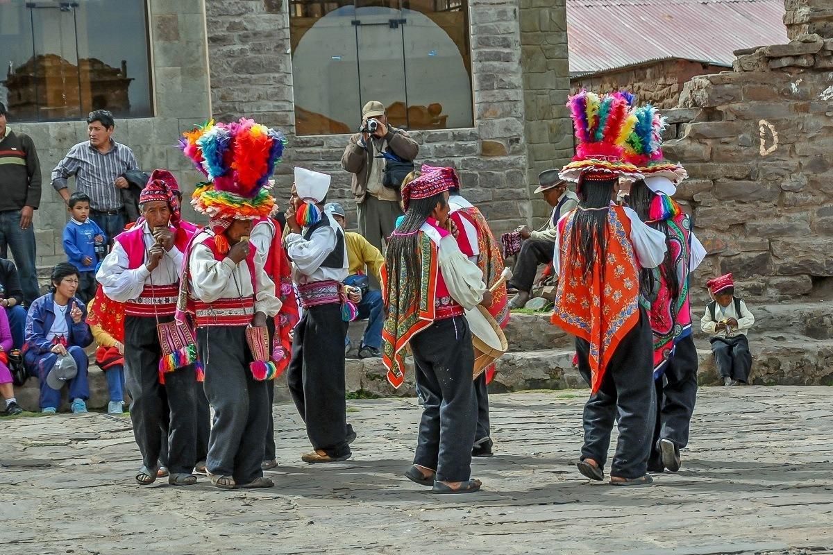 Traditional musicians in a celebration on Taquile Island