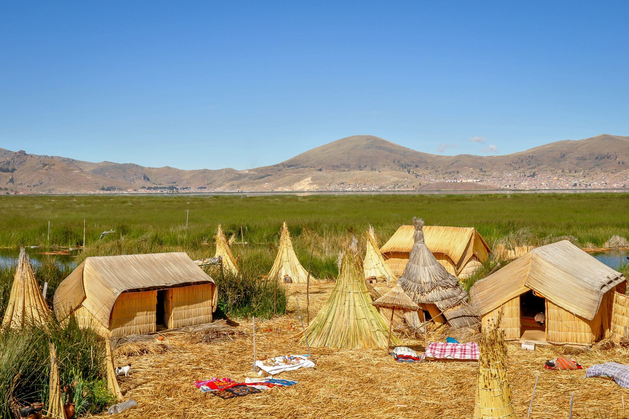 Huts in a community on the floating Uros Islands in Lake Titicaca