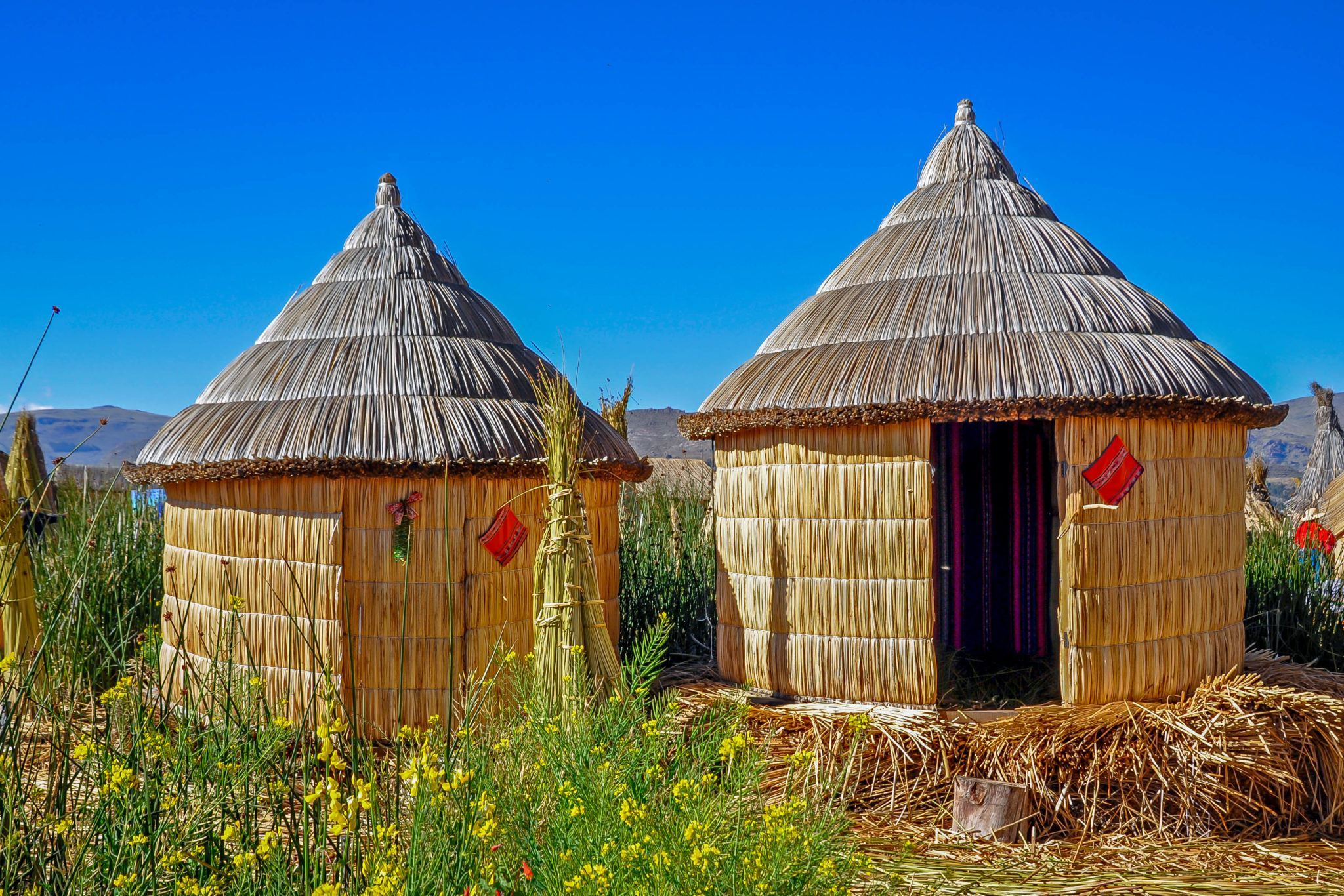 Huts on the Uros Islands