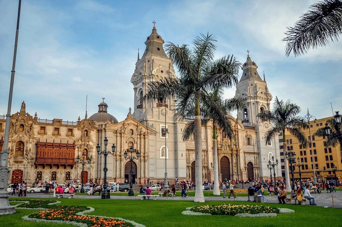 Cathedral of Lima on Plaza Mayor inb Lima, Peru