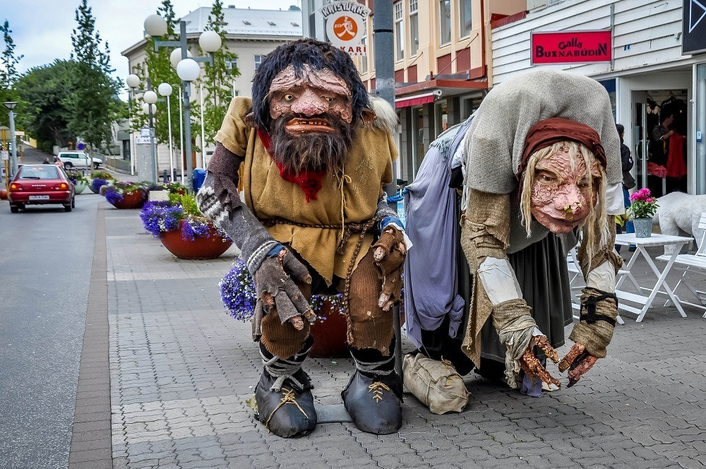 Statues of trolls in Akureyri