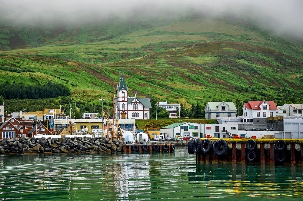 The town of Husavik, Iceland from the water