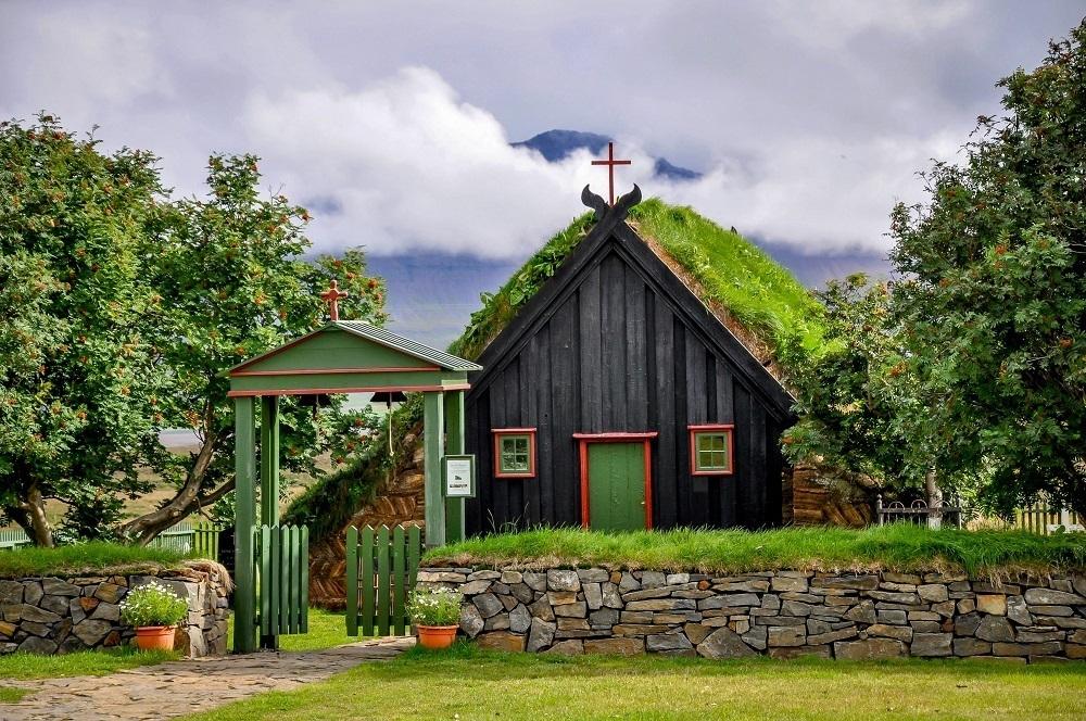 A turf church in Iceland