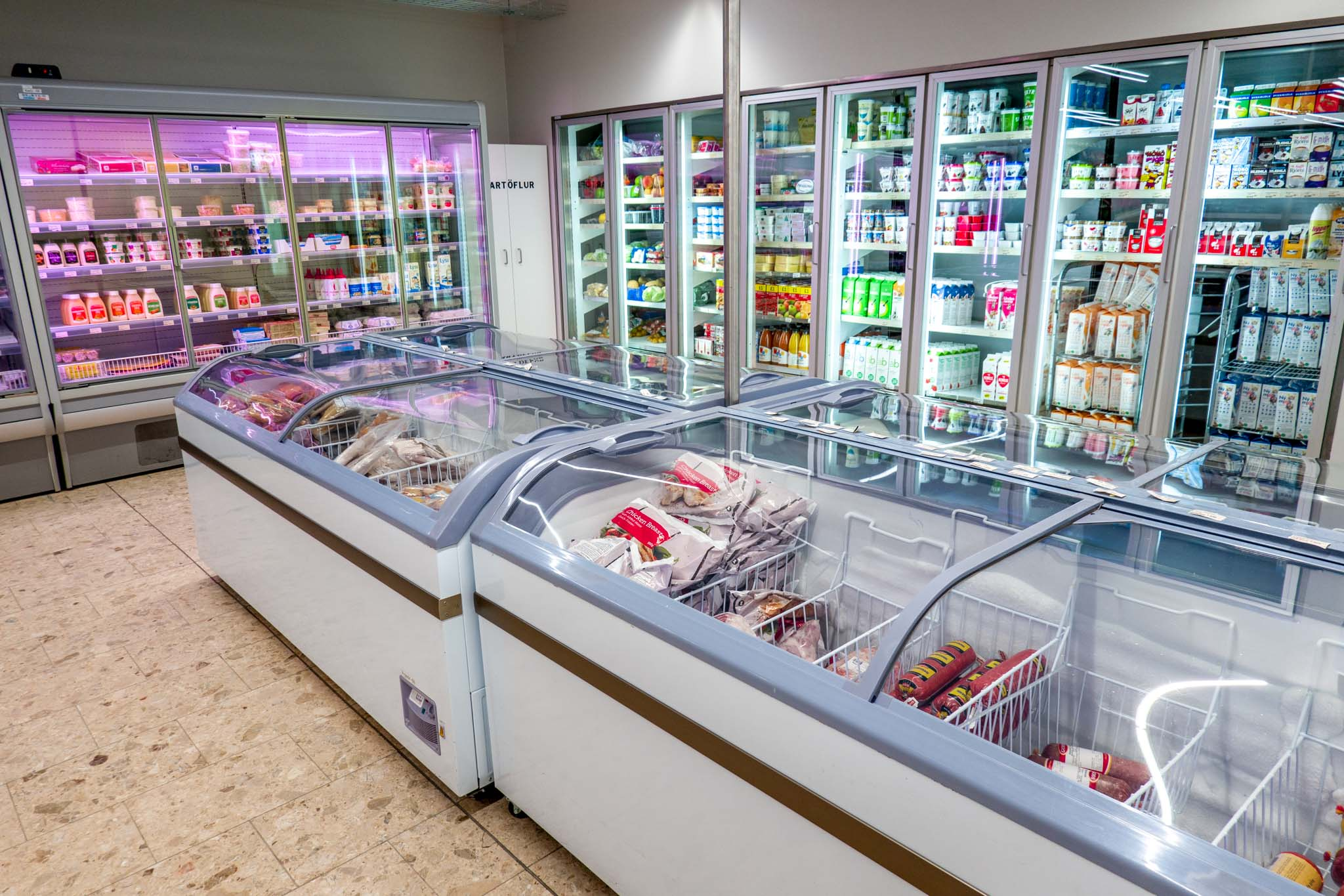 Refrigerators and frozen foods are available at the gas stations in Iceland