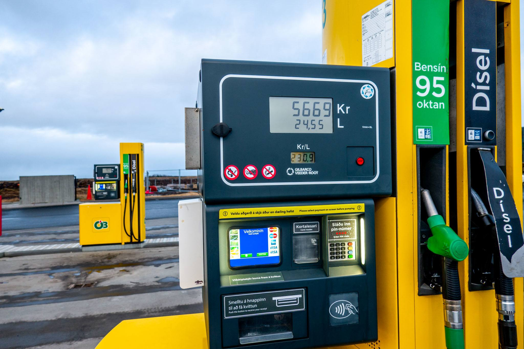A self-pay pump at an Iceland gas station