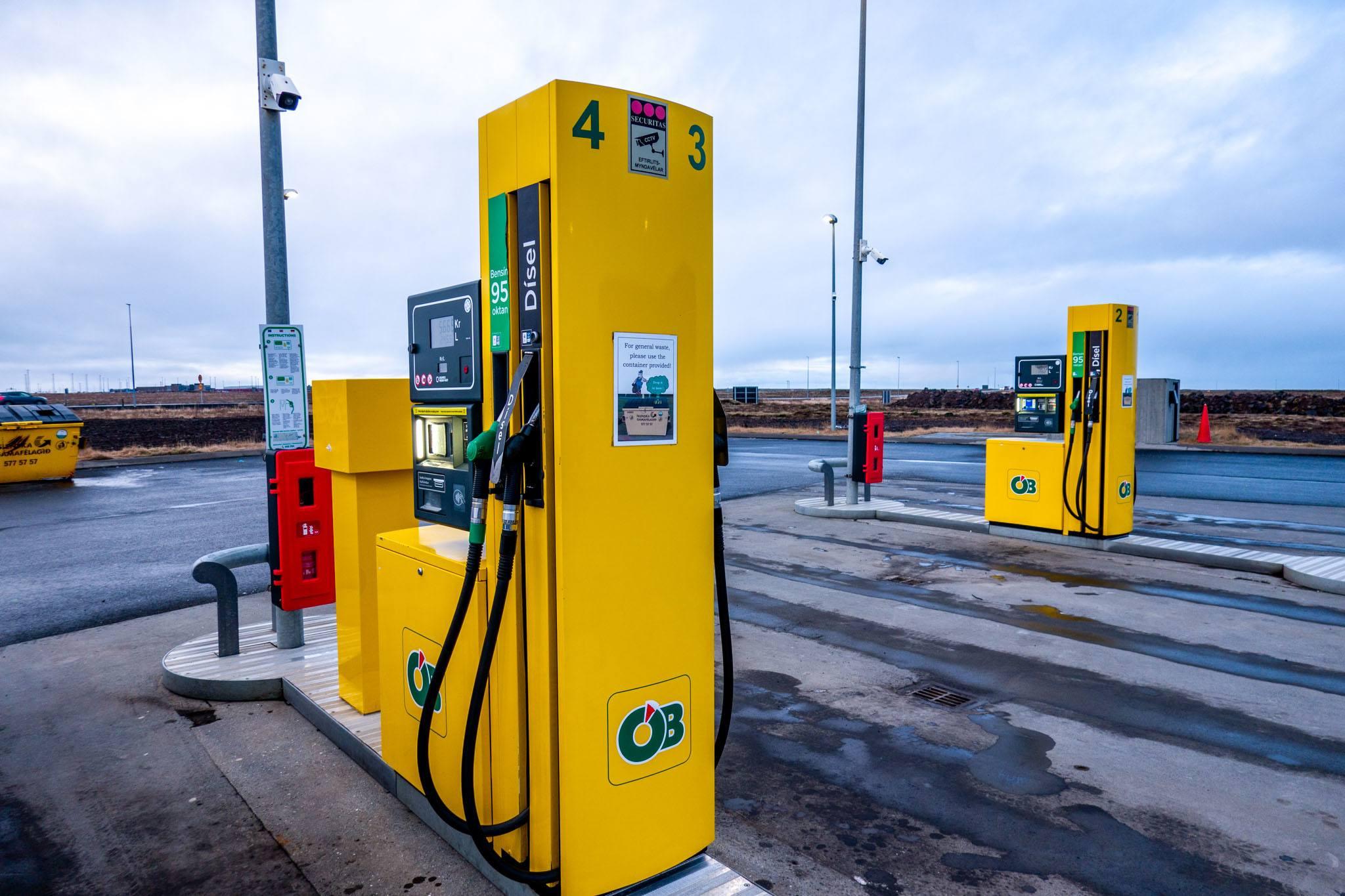 Gas pumps at an OB self-serve gas station