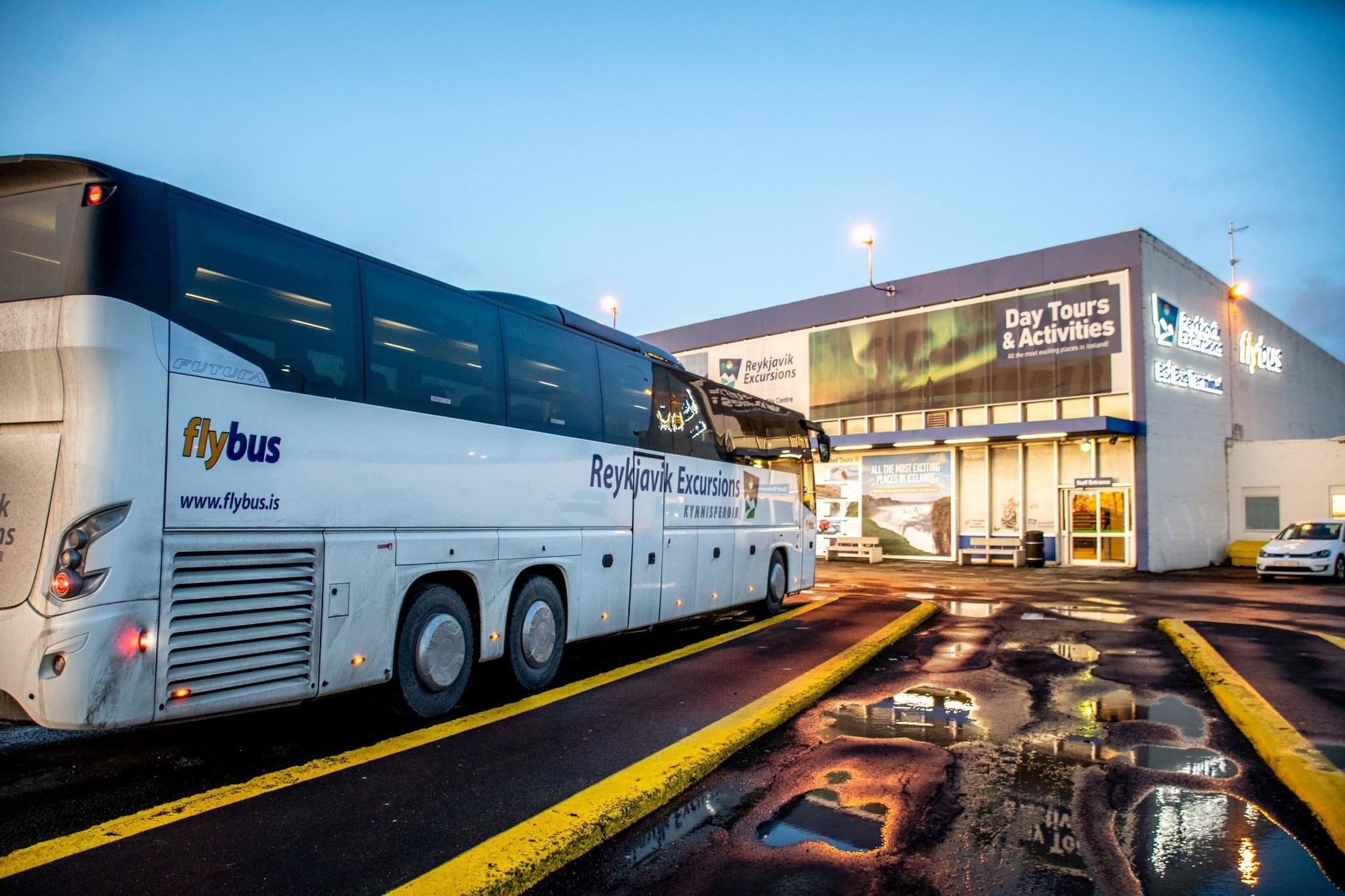 The Reykjavik Flybus Iceland bus at the BSI Bus Terminal