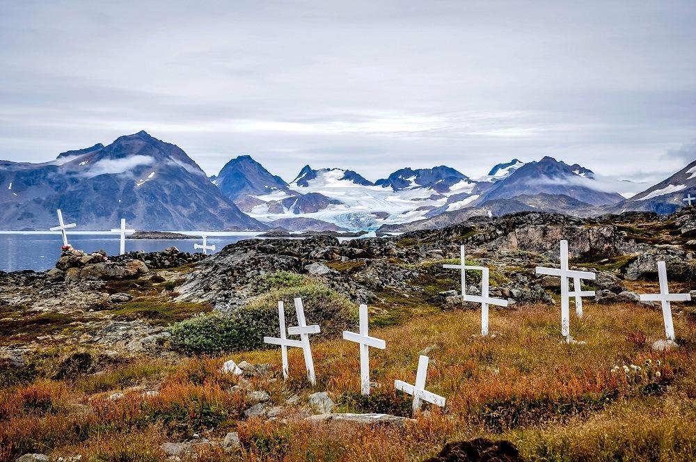 Crosses mark the Kulusuk, Greenland cemetery