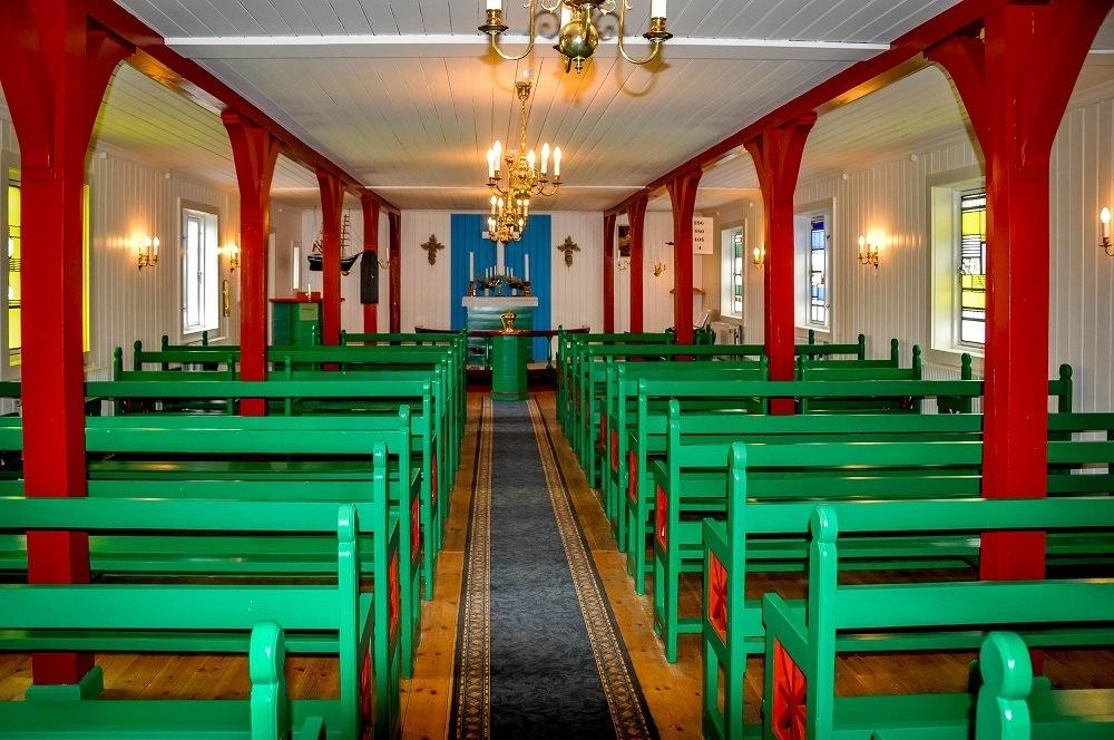 The interior of the Danish church in Kulusuk