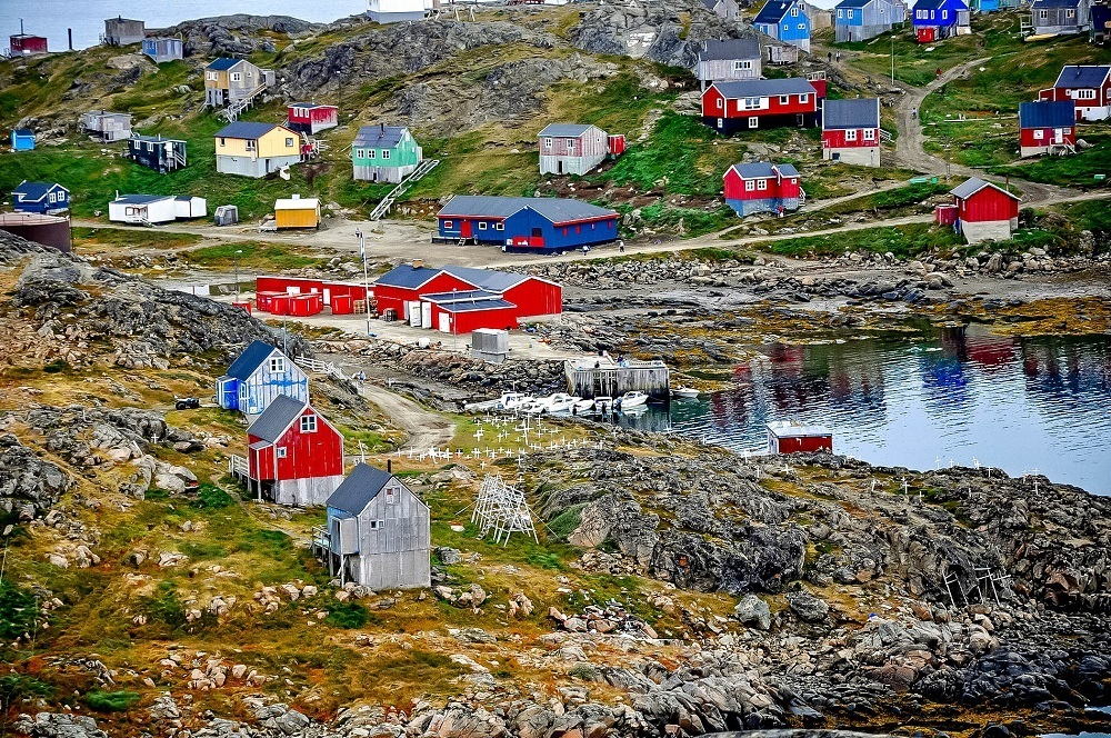 The brightly-colored houses in Greenland