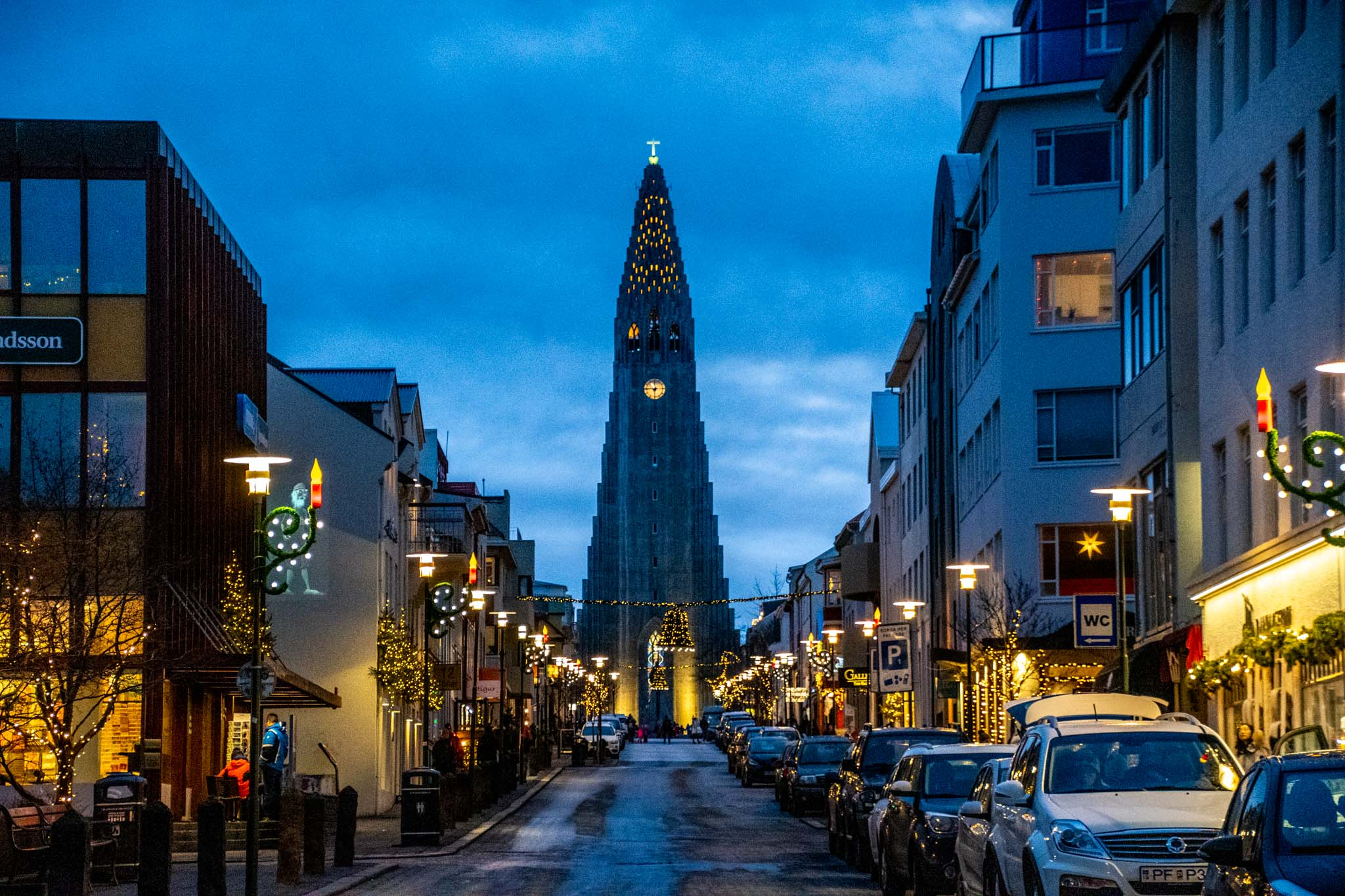 Downtown Reykjavik with the Hallgrimskirkja Church at the top of the street.