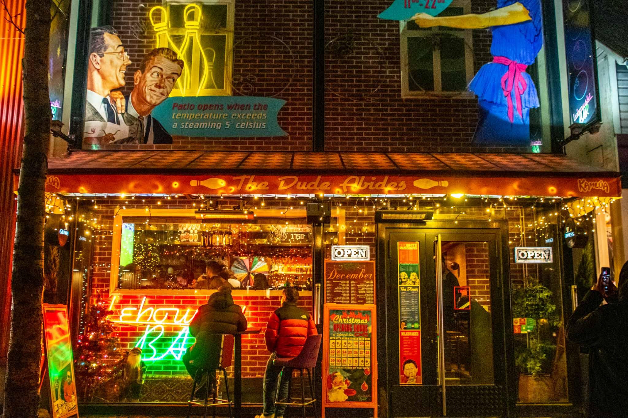 The exterior of the Lebowski Bar
