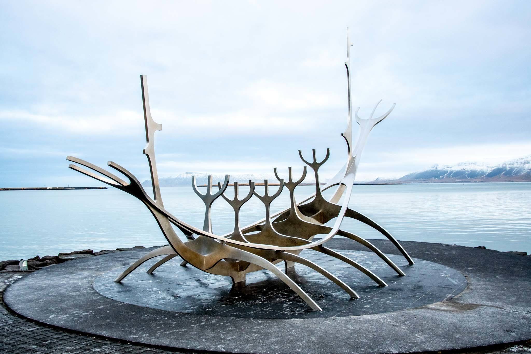 The steel Sun Voyager sculpture in Iceland