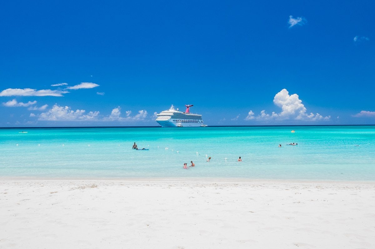 Cruise ship at Half Moon Cay Beach