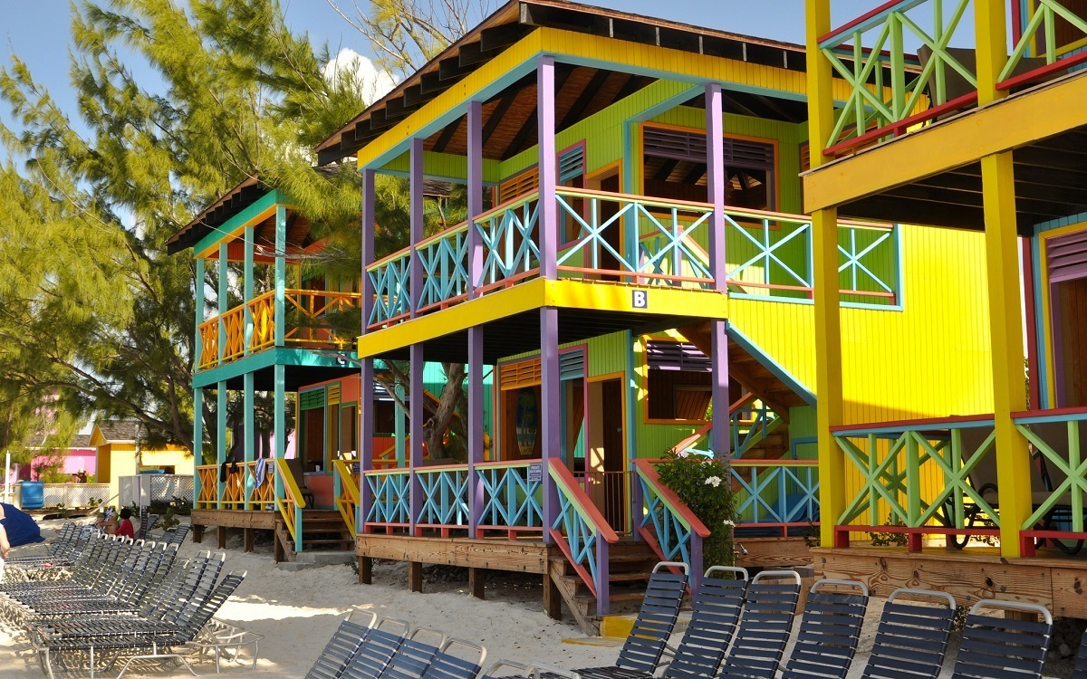 Colorful villas on the beach